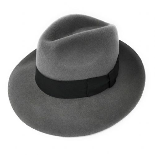 Womens Grey Wool Snap Brim Fedora Hat - Midford